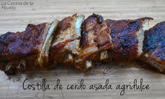 Costilla de cerdo asada agridulce, un asado sencillo preparado con ingredientes económicos y con un toque original que no te dejará indiferente. La Cocina de la Abuela.