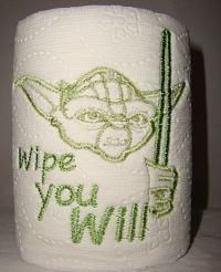 Yoda Star Wars Novelty Gag Gift Embroidered Toilet Paper by DevonRyanDesigns for $3.99
