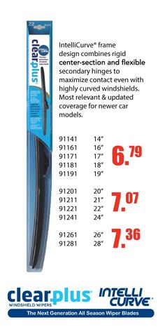 New wiper blades Starting From $6.79 EA! IntelliCurve design combines rigid center-section and flexible secondary hinges to maximize contact even with highly curved windshields. Most relevant & updated coverage for newer car models. https://aadiscountauto.ca/special/929/intellicurve.html #IntelliCurve #New #wiper #blades #NewWiperBlades #AADiscount