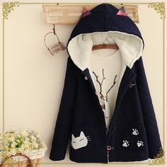 Japanese cute cartoon thick hooded jacket