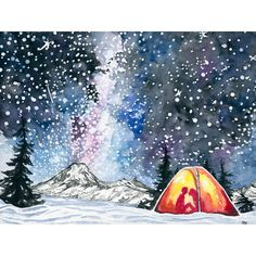 This mountain painting is a print of a watercolor and ink painting of  artist point in Washington. February is all about the winter camping and  those starry skies:)