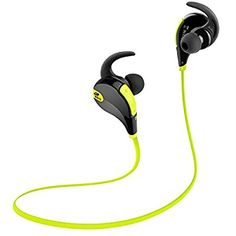 Amazon.com: SoundPEATS Bluetooth Headphones Stereo Wireless Earphones for Running with Mic (6 Hours Play Time, Bluetooth 4.0, IPX4 Sweatproof, Secure Ear Hooks Design) - Black & Green: Cell Phones & Accessories