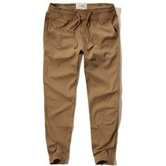 Hollister Twill Jogger Pants (160 BRL) ❤ liked on Polyvore featuring men's fashion, men's clothing, men's activewear, men's activewear pants and dark khaki