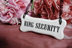 RING SECURITY Dog Ring Bearer, dog bone sign, ring bearer server flower girl vintage wedding shabby alternative wedding sign pine wood