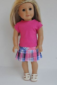 American Girl Doll Clothes PInk and Blue Plaid by CircleCSewing, $15.00