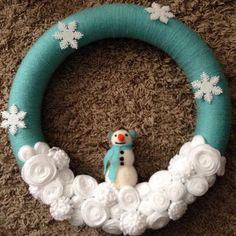 winter yarn wreath