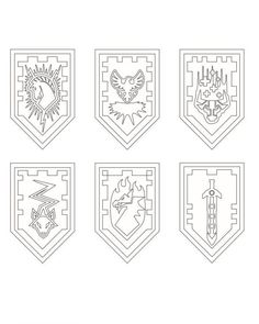 Nexo LEGO Knights Shields Coloring Page
