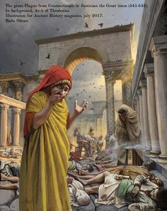 The great Plague from Constantinople in Justinian the Great times (541-542). In background, Arch of Theodosius. Illustration for Ancient History magazine, july 2017. Artist: Radu Oltean