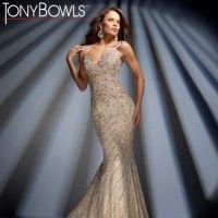 Wedding Dresses, Bridesmaid Dresses, Prom Dresses and Bridal Dresses Tony Bowls Collection - Style TBC020 [TBC020] - Tony Bowls Collection. Sleeveless hand-beaded crinkle chiffon slim A-line gown with tapered shoulder straps, sweetheart neckline, dropped waistline, open back bodice, sweep train.