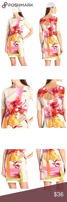 """Gabby Skye Floral Back Cut Out Shift Dress Sz 10 Gabby Skye Floral Back Cut Out Shift Dress Sz 10 NWT • Size 10 • New with tags • Style number 51688MG • Exposed back zipper • Back cut out • Back bow • Pockets • 97% polyester 3% spandex • Neckline is lined • All measurements taken with dress flat • 19.5"""" bust • 19"""" waist • 21"""" hips • 36.5"""" length • 5"""" sleeve inseam Gabby Skye Dresses"""