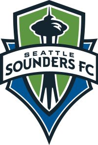 The Seattle Sounders FC crest, with the team's name on a banner stretched across a green and blue shield with the shape of the Space Needle in the center.