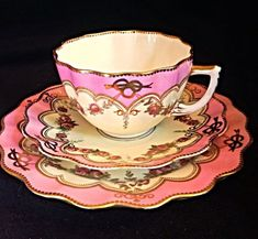 Aynsley C1885 Pink And Gold Guild Scalloped Tea Cup Saucer Plate With Roses Trio