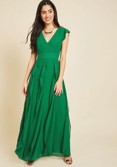 Exquisite Epilogue Maxi Dress in Clover | Mod Retro Vintage Dresses | ModCloth.com  When one evening ends in this green gown, another elegant adventure is only just beginning! From weddings to film premieres and more, you'll have plenty of chances to reunite with the cap sleeves, plunging neckline, ruffled skirt, and fairytale aesthetic of this ModCloth-exclusive maxi.