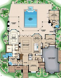 Florida Mediterranean House Plan 75938 Level One
