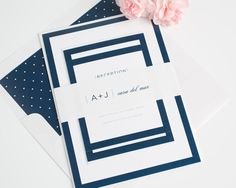 Bold borders paired with modern fonts and a script give these sophisticated wedding invitations an upscale and contemporary look.  Shown in navy blue and pewter gray with a dots envelope liner.
