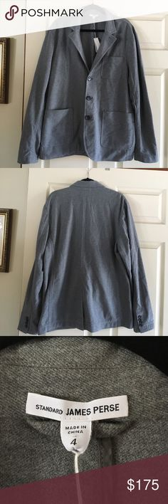 NWT James Perse Cotton Blazer NWT James Perse gray cotton blazer. Size 4 - equivalent to an XL. Soft, thick fabric. Perfect blazer for the change of season! James Perse Jackets & Coats Blazers
