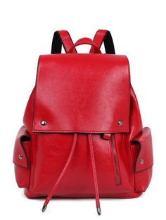 PU Leather Solid Color Cover Satchel WINE RED: Bags   ZAFUL