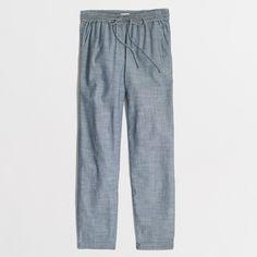 """<ul><li>Cotton.</li><li>Sits below waist.</li><li>Relaxed through hip and thigh, with an easy, straight leg.</li><li>27"""" inseam.</li><li>Drawstring at waist.</li><li>Slant pockets.</li><li>Machine wash.</li><li>Import.</li></ul>"""