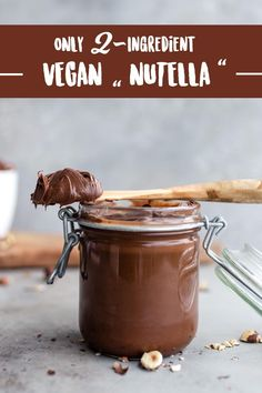 "DIY vegan ""Nutella"" made with just 2 ingredients! Creamy, rich, gluten-free and rich in magnesium! Vegan Nutella made in under 20 minutes – with only Gateaux Vegan, Vegan Chocolate, Nutella Vegan, Chocolate Cake, Dessert Recipes, Breakfast Recipes, Bakery Recipes, Breakfast Smoothies, Vegan Cake"