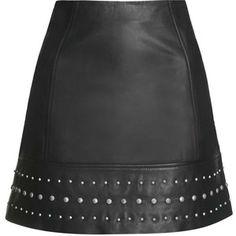 TOPSHOP Leather Studded Hem Mini Skirt