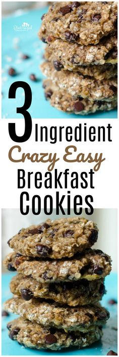 Breakfast just got easier and yummier with these crazy-easy three-ingredient breakfast cookies! Good moms serve cookies for breakfast! <3 <3 Psst! There's no sugar added in this recipe!