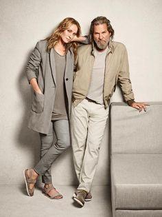 Jeff Bridges & Uma Thurman - Marc O'Polo Collection Jeff Bridges, Uma Thurman, Stylish Couple, Stylish Men, Star Fashion, Mens Fashion, Mature Couples, Brown Dress Shoes, Marc O Polo