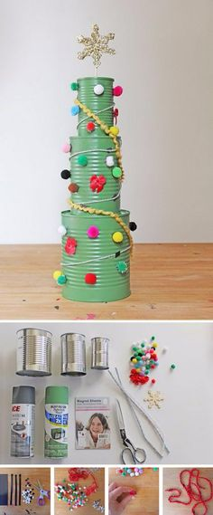 Tin Can Christmas Tree Activity.