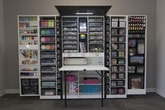 """The Workbox is our """"Queen"""" of craft storage. After 9 months of being back-ordered, we are excited to announce select styles of The WorkBox are available Craft Storage Cabinets, Craft Cabinet, Craft Room Storage, Kids Storage, Craft Organization, Craft Rooms, Storage Ideas, Organizing Crafts, Bedroom Organization"""