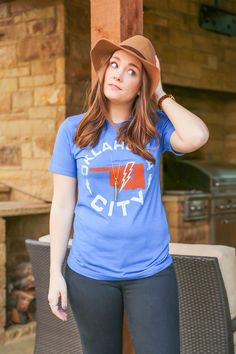 Oklahoma City Circle Unisex Tee from Kickoff Couture #oklahomacity #okc #thunder #bolt #gameday #unisextee #kickoffcouture