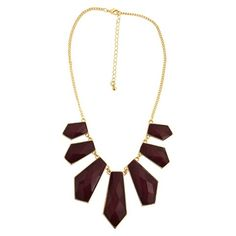 """Women's Short Necklace with Stones - Gold/Maroon (16"""")"""