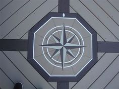 "40"" Natural Slate Compass Rose Mosaic Tile Medallion 