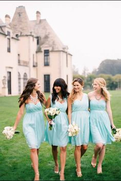 Love the outfit on the left!!! White chunky necklace and Tiffany dresses