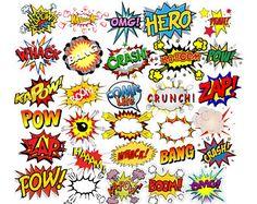 Comic Text Digital Clipart, Superhero Text Clipart, Superheroes Pop Art Text and Bubbles Clipart Superhero Pop Art, Superhero Clipart, Superhero Theme Party, Soccer Party, Pirate Party, Art Pop, Fiesta Pop Art, Letras Comic, Pop Art Party