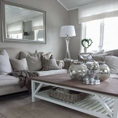 Gray and white sitting room - relaxing and inviting.