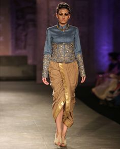 Golden Embroidered Gray Blouse with Dhoti Pants by Anju Modi | India Couture Week - 2014