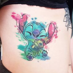 """Joanne Baker on Instagram: """"•HEALED•  a quick snap for Darcy's Stitch & Scrump tattoo 💙  Thank you! . . . . .  #sempertattoo #killerinktattoosupplies…"""" Lilo And Stitch Tattoo, Stitch Drawing, Watercolor Drawing, Skull Tattoos, Disney Tattoos, Make Your Mark, Future Tattoos, Tattoo Inspiration, Kylie Jenner"""
