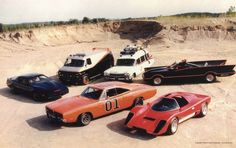 Gathering of legends from the TV:- KITT (Pontiac from the Knight Rider)- the A-Team GMC van- Ghostbusters' Ectomobile or Batman & Robin's Batmobile- the General Lee of the Dukes of Hazzard- Hardcastle and McCormick's Coyote. General Lee, Us Cars, Sport Cars, Film Cars, Movie Cars, Kitt Knight Rider, Dodge, Gmc Vans, Automobile