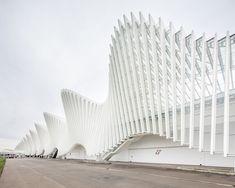 Le onde della stazione ferroviaria mediopadana dell'alta velocità, realizzata a Reggio Emilia dallo studio di architettura Calatrava. The Mediopadana railway station, built in Reggio Emilia and designed by Calatrava.