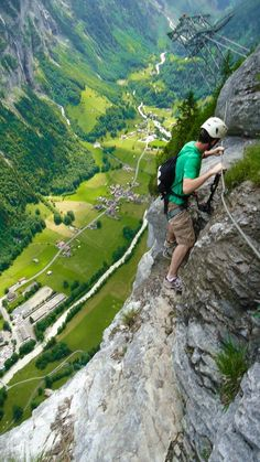 aliciamarietravels - Vis Ferrata Murren Gimmelwald in the Lauterbrunnen Valley. Near Interlaken, Switzerland. What to bring for the hike, where to rent and more!