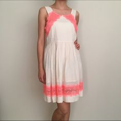 Free people lace dress. Cyber Monday Sale❗️Gorgeous free people dress . Neon orange lace details. Size Small. Like new. Worn twice. Perfect for summer. Make an offer. Free People Dresses Mini