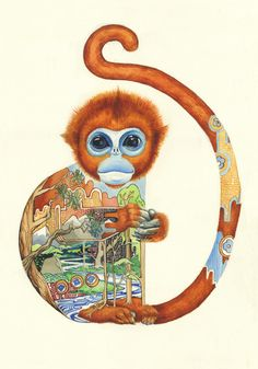 "These beautiful watercolour illustrations are by award winning watercolour artist and illustrator Daniel Mackie, who won ""Best in Book"" in the Creative Rev Art And Illustration, Watercolor Illustration, Animal Illustrations, Illustrations Posters, Monkey Art, Year Of The Monkey, Watercolor Animals, Whimsical Art, Japanese Art"