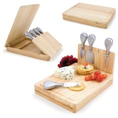 Picnic Time Asiago Cheese Board - Wine and Cheese
