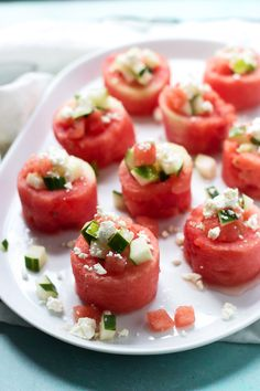 Watermelon, Cucumber and Feta Salad Cups by cookingforkeeps: Summer on a plate. #Appetizer #Salad #Watermelon #Cucumber #Feta #Easy #Healthy #Light