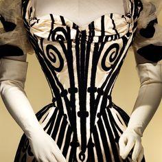 Charles Frederick Worth, date unknown; hand-made velvet strips (? on silk?)
