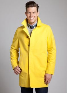 The Shamus Water-Resistant Cotton Raincoat in Yellow - $298 @ Bonobos