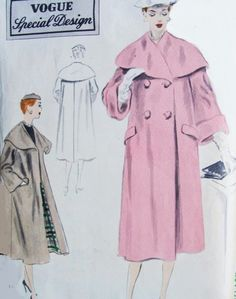 1950s Beautiful Cape Collar Coat Pattern Vogue Special Design 4285 Two Styles Double Breasted or Open Front Wide Cuffs Version Stunning Styles Bust 30 Vintage Sewing Pattern