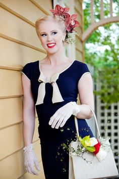 Classic navy and white pops with a touch of floral Spring Racing Carnival, Race Wear, Races Fashion, Frocks, Navy And White, Venus, Pin Up, Flower Girl Dresses, Victoria