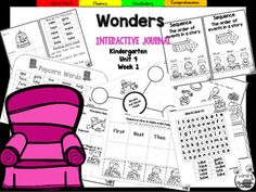 "This 23 page Kindergarten interactive journal is aligned to Common Core and to the McGraw Hill Wonders series for Unit 9-Week 1. Complete Set Includes:Mini Anchor Chart/Activities for ""Magic e"", Fiction, Handwriting PracticeCut and Paste Graphic Organizers  Build It!"