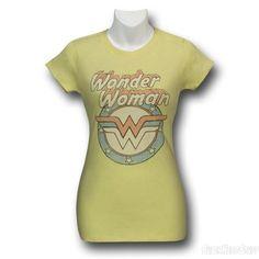 Images of Wonder Woman Vintage Logo Yellow Women's T-Shirt