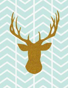 animal silhouette printables. deer head herringbone printable